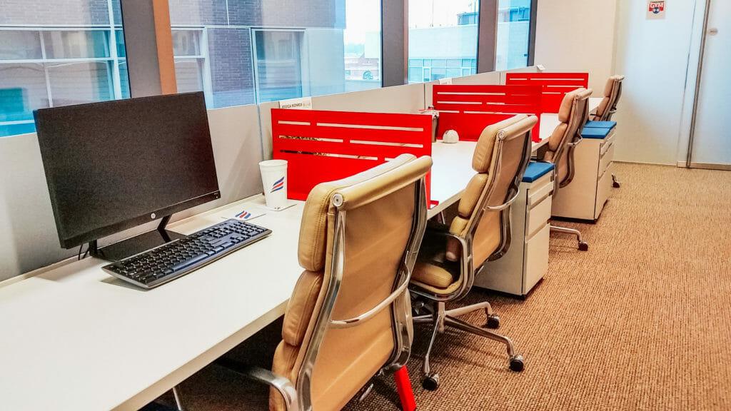 Separate desks at Endeavor