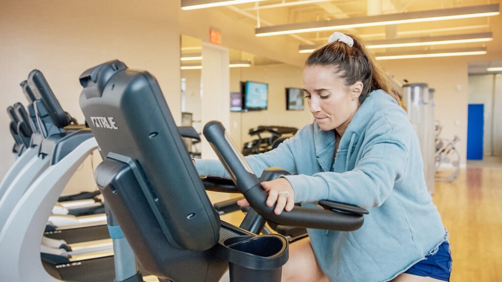 Member Using the Elliptical in Private Gym