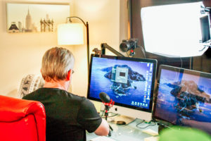 Jason Blumer records Thriveal podcast from his office at Endeavor